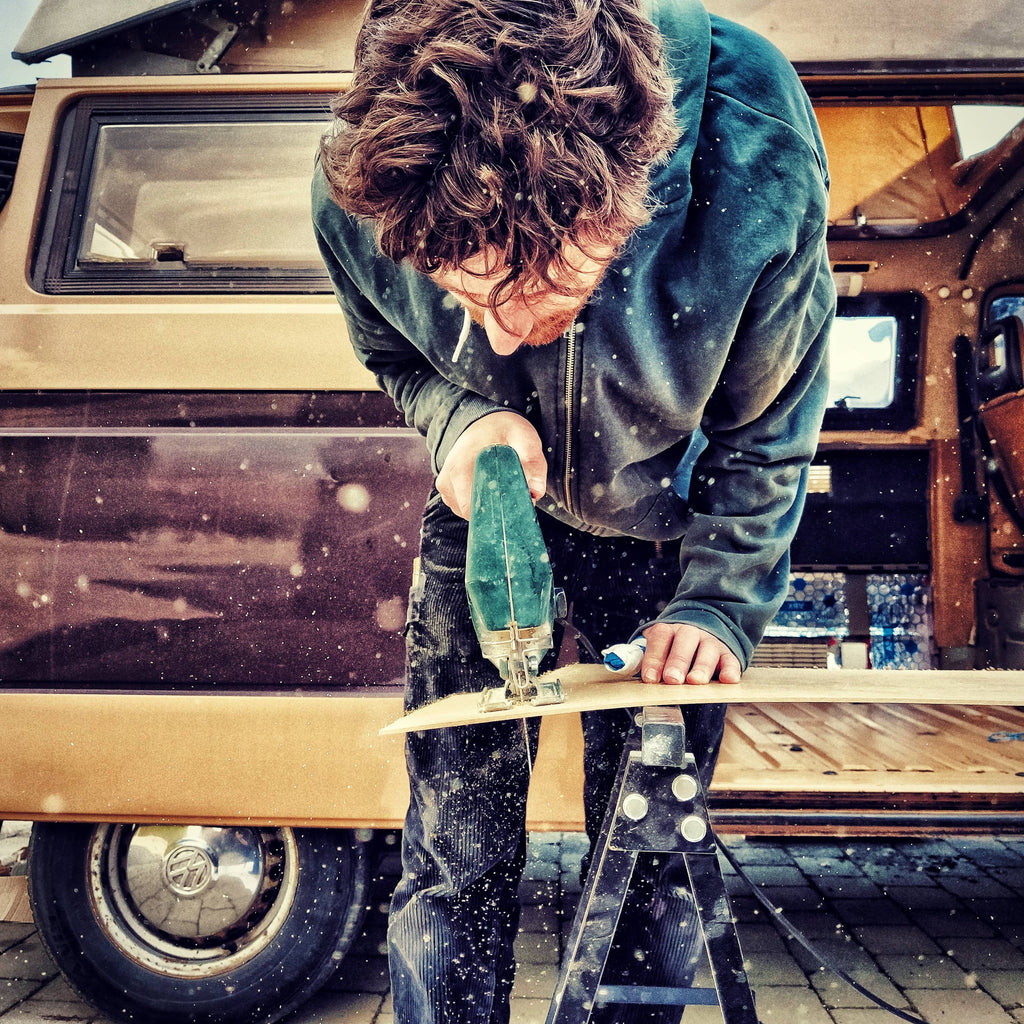 Philip working on the van build