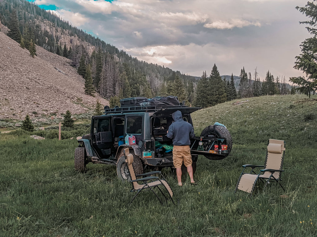 Vanlife with Madi and Blackhawk outside