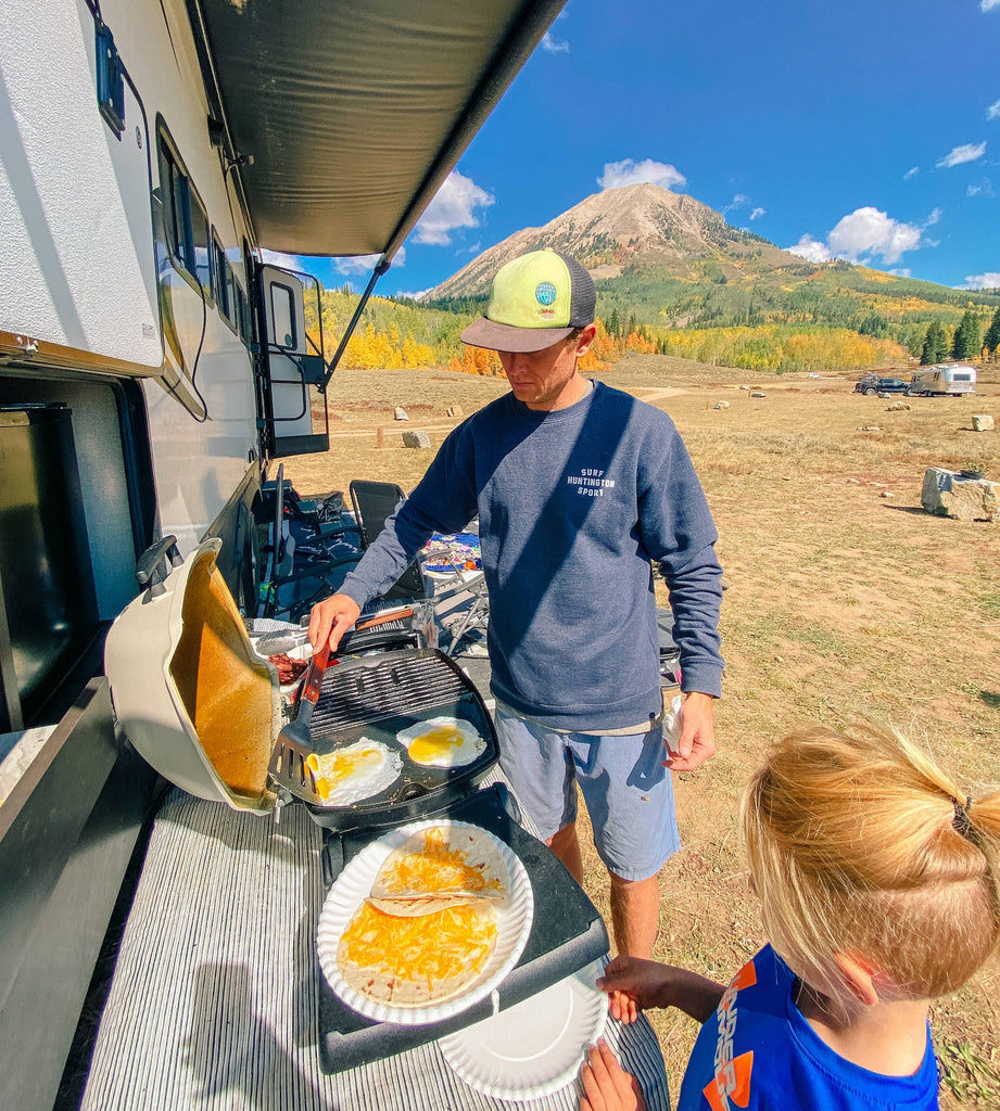 cooking breakfast at the RV