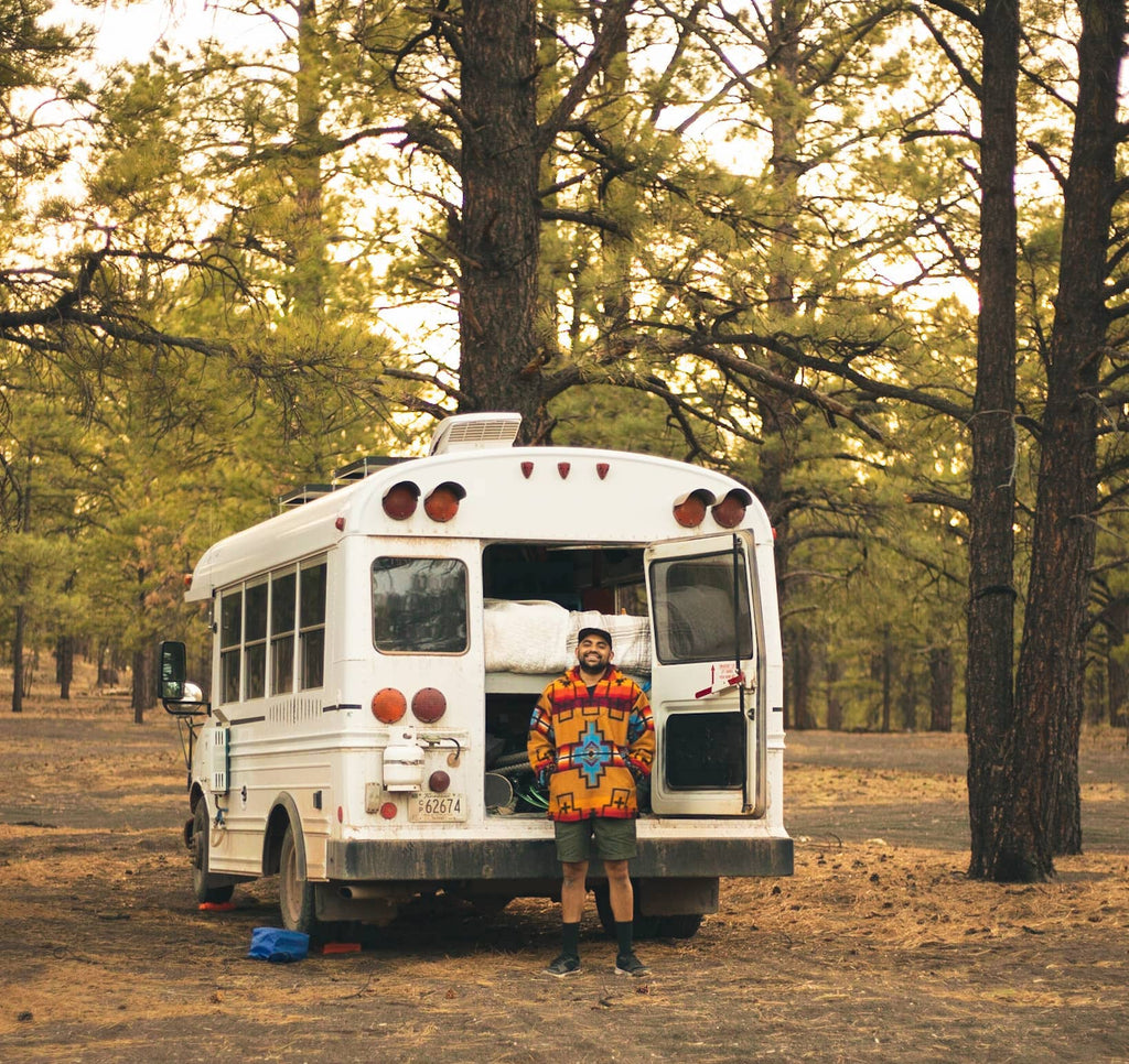 Brian Bear Butler in front of his bus