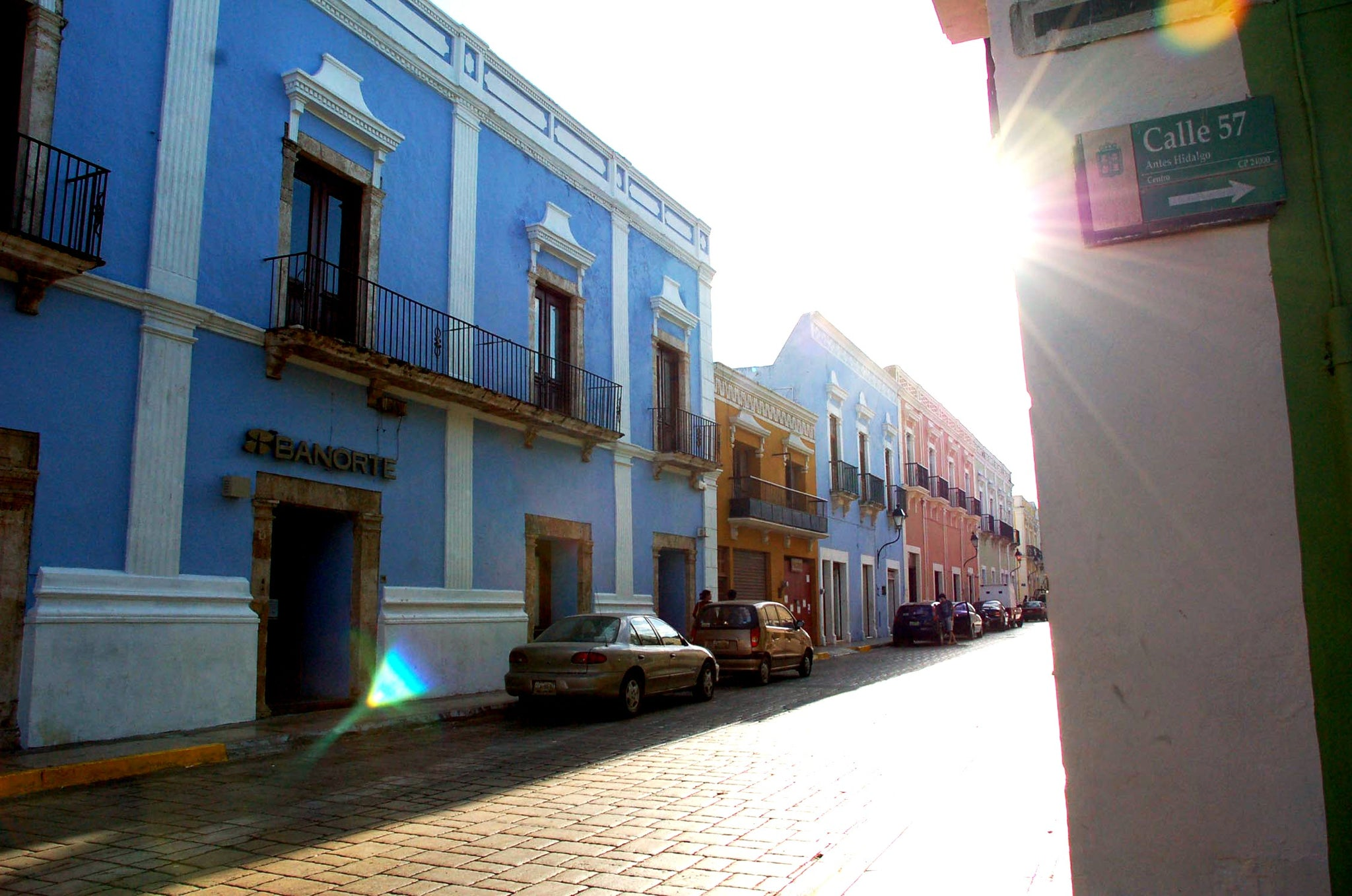 Campeche Mexico Yucatan Peninsula - Cobblestone streets lined with Colorful Colonial Era house and buildings