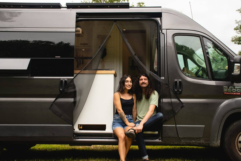 Katelynn and Ethan at the hunters vanlife sitting in the van