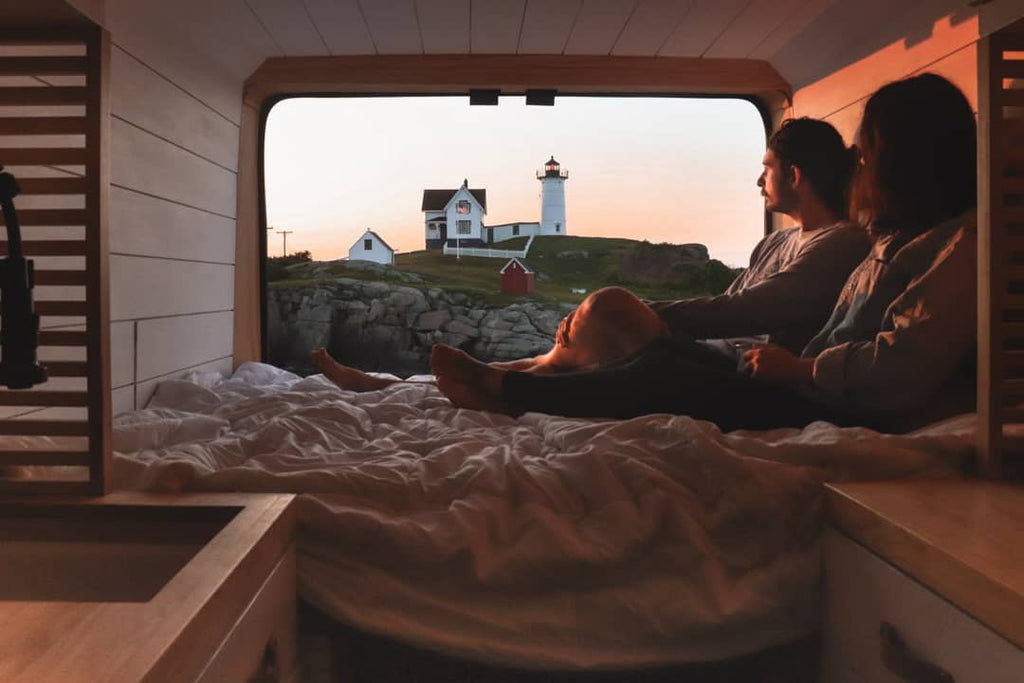 Katelynn and Ethan at the hunters vanlife sunset in the back of the van
