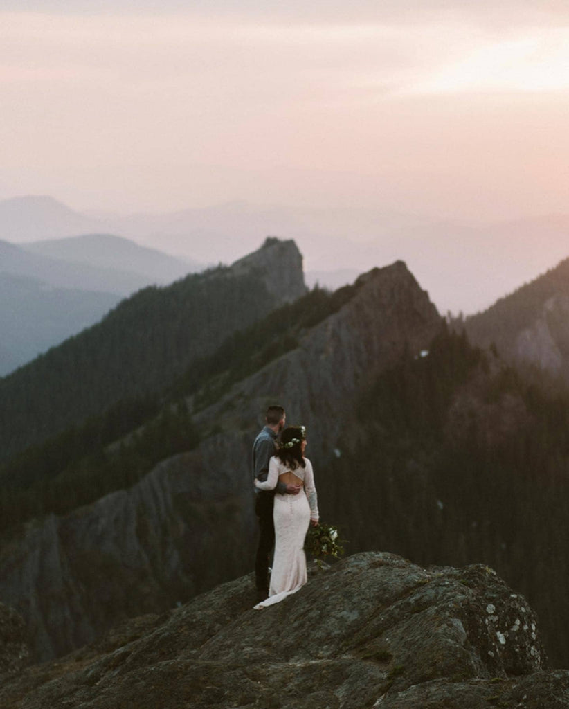 Katelynn and Ethan at the hunters vanlife married in the mountains