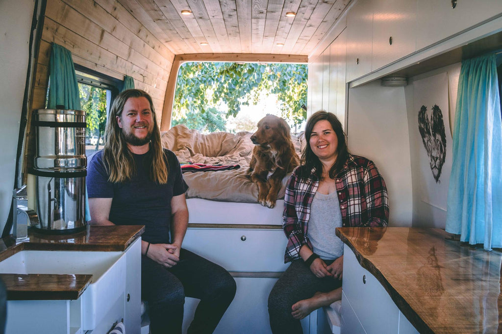 Vanessa and Adam in their 2008 sprinter van