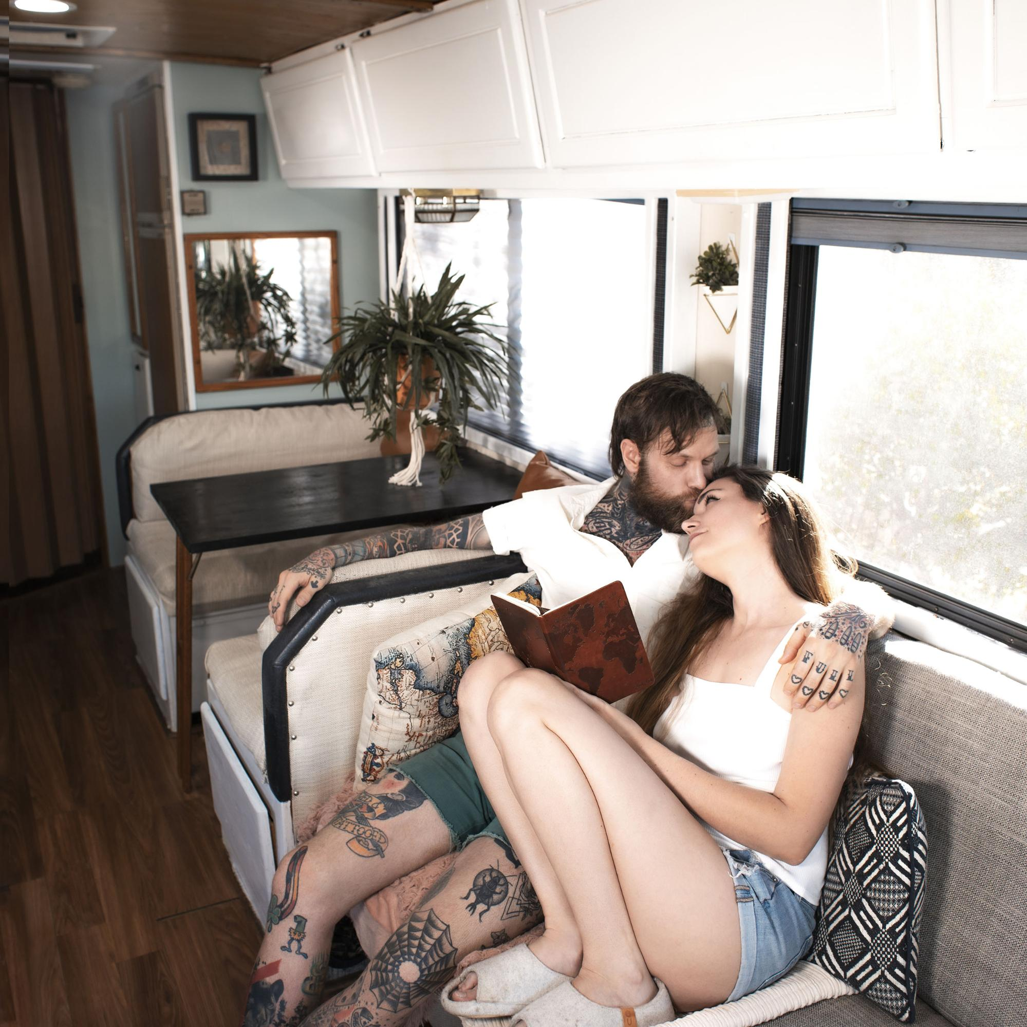 Kicking back in the Airstream doing some reading. Home is where you park it.