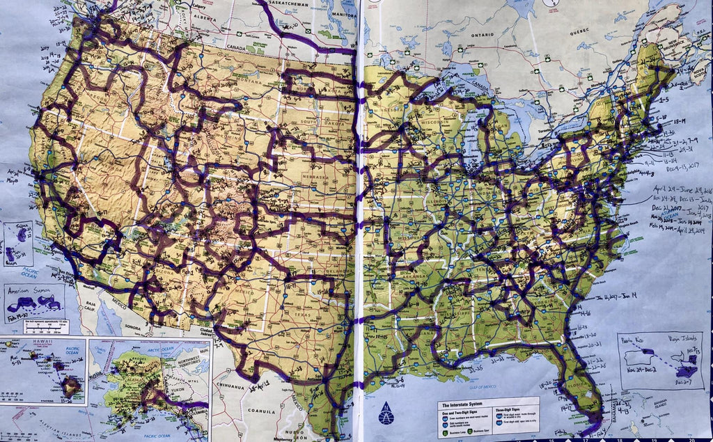 A map of all the palce Mikah has traveled during vanlife
