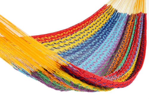 Multi-color vibrant handmade hammock for outdoor use