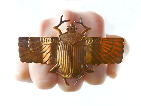Big Ring Steampunk Oxidized Scarab with Wings Statement Ring Egyptian Beetle Knuckle Ring Chunky Neo Victorian Adjustable Ring