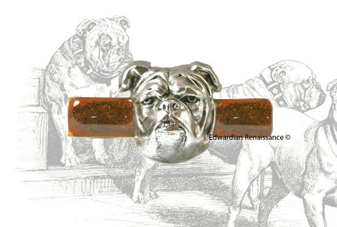 English Bulldog Tie Clip Inlaid in Hand Painted Glossy Copper Enamel Neo Victorian Vintage StyleTie Bar Accent with Custom Color Options