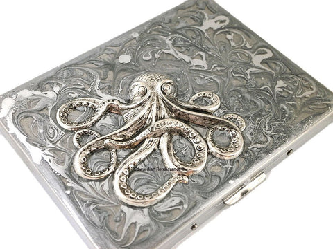 Octopus Metal Cigarette Case Inlaid in Hand Painted Metallic Silver Swirl Design Enamel Nautical Antique Sterling Silver Plated Kraken