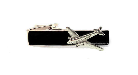 Antique Silver Airplane Tie Clip Inlaid in Hand Painted Black Enamel Aircraft Tie Bar Accent Vintage Style Aviator with Color Options
