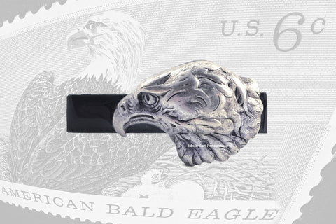 Antique Silver Eagle Tie Clip Accent Vintage Style Inlaid In Hand Painted Black Enamel
