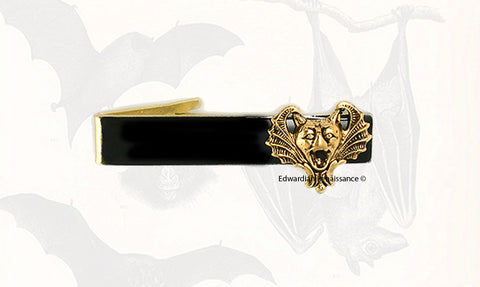 Vampire Bat Tie Clip Inlaid in Hand painted Black Enamel Tie Bar Accent Gothic Victorian Style Custom Colors Available