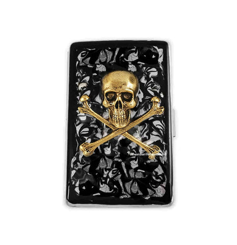 Antique Gold Skull and Crossbones Cigarette Case Inlaid in Hand Painted Enamel Gothic Victorian Design with Personalized and Color Option