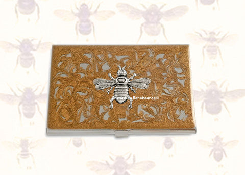Queen Bee Business Card Case Inlaid in Hand Painted Gold Swirl Enamel Victorian Inspired with Custom Personalize and Color Options