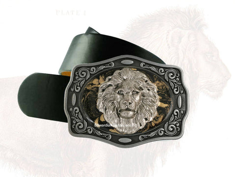 Lion Head Belt Buckle Inlaid in Hand Painted Glossy Black Enamel with Gold Swirl Design Metal Buckle with Assorted Color Options