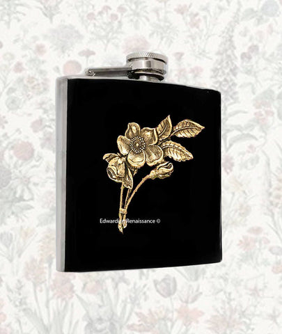 Art Nouveau Flask Roses Bouquet Inlaid in Hand Painted Enamel Custom Colors and Personalized Options Available