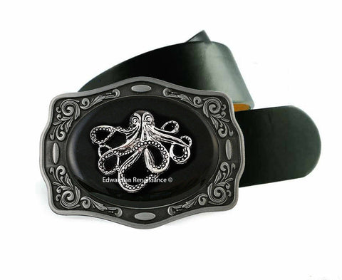 Octopus Belt Buckle Inlaid in Hand Painted Glossy Black Enamel Nautical Inspired Metal Buckle with Assorted Color Options