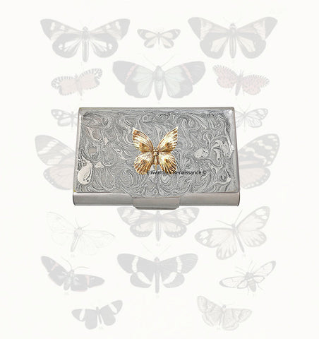 Butterfly Large Business Card Case Inlaid in Hand Painted Silver Swirl Enamel Art Nouveau with Color and Personalized Options Available