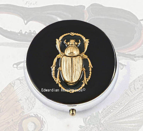 Round Metal Pill Box Scarab Inlaid in Hand Painted Black Enamel Egyptian Beetle Embellished Neo Victorian Custom Colors and Personalized