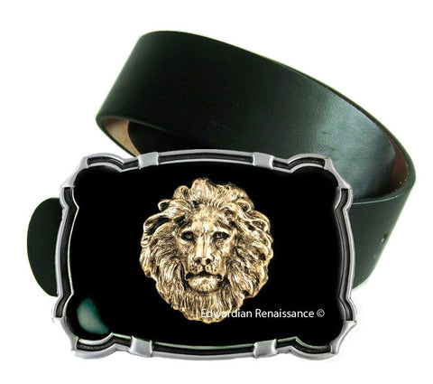 Leo Large Belt Buckle Hand Painted Enamel Inlaid with Antique Gold Lions Head Ornate Buckle with Color Options Available