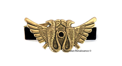 Art Deco Tie Clip Inlaid in Hand Painted Enamel Winged Serpent Egyptian Design with Color Options Available