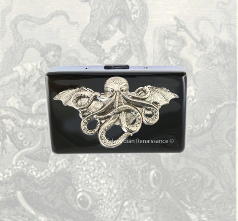 Cthulhu Cigarette Case in Hand Painted Black Enamel Steampunk Inspired with Color and Personalized Options Available