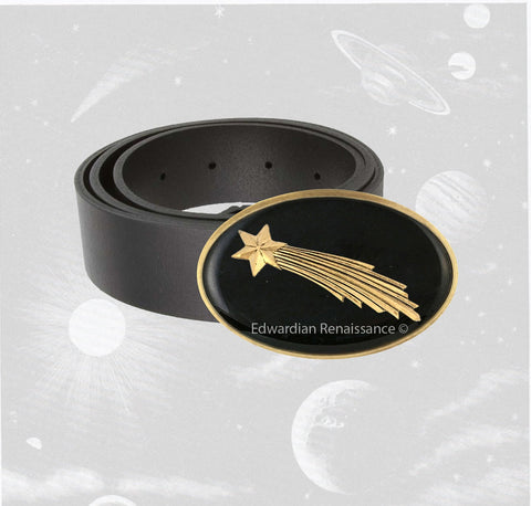 Shooting Star Belt Buckle Inlaid in Hand Painted Glossy Black Onyx Enamel Art Deco Celstial Design Inspired Available in Other Colors