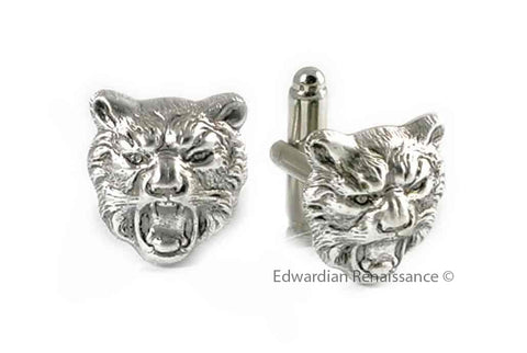 Tiger Head Cufflinks Roaring Design in Antique Sterling Silver Plating Ready to Ship