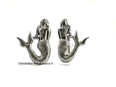 Antique Silver Mermaid Cuff Links Sea Nymph Nautical Fantasy Inspired Statement Accessory