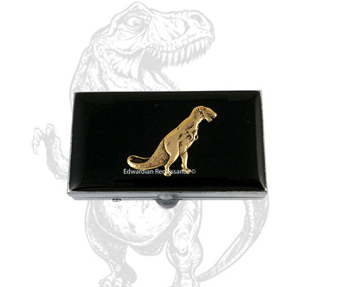 Dinosaur Pill Box Inlaid in Hand Painted Black Enamel Art Deco T- Rex Retro Inspired Pill Case with Personalized Options and Color Choices