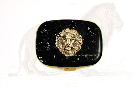 Lion Pill Box Inlaid in Hand Painted Glossy Black Enamel  Neo Victorian Leo Inspired Meds Case with Custom Colors and Personalized Options