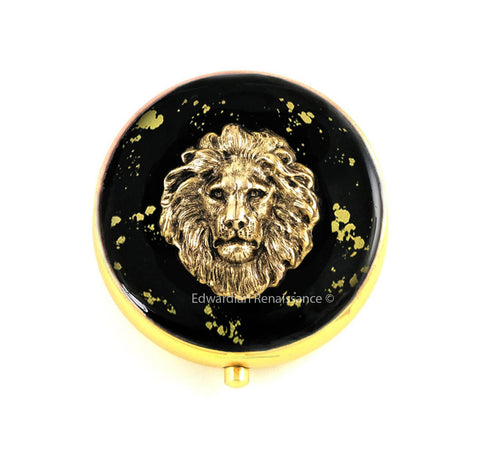 Neo Victorian Lion Pill Box Inlaid in Hand Painted Enamel with Gold Splash Leo Round Pill Case with Custom Colors and Personalized Options