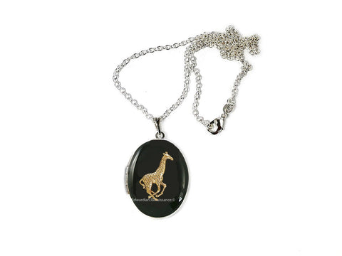 Giraffe Locket Inlaid in Hand Painted Black Enamel Vinatge Safari Design Neo Victorian Inspired Necklace with Personalized and Color Options