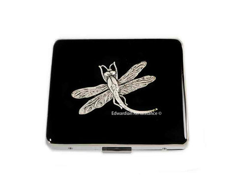 Dragonfly 7 Day Pill Box Case with Mirror Inlaid in Hnad Painted Black Enamel Art Nouveau Design with Custom Colors and Personalized Options