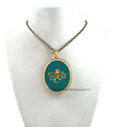 Octopus Locket Pill Box Necklace in Hand Painted Glossy Teal Green Enamel Nautical Victorian Pendant with Color and Personalized Option