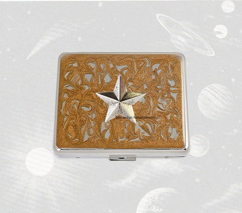 3D Star Weekly Pill Case Inlaid in Hand Painted Glossy Gold Swirl Enamel Art Deco Inspired Personalized and Color Options Available