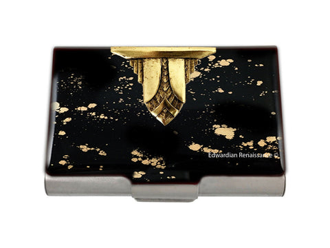 Aztec Design Large Business Card Case Embellished on Black with Gold Splash Enamel Art Deco Inspired with Personalized and Color Options