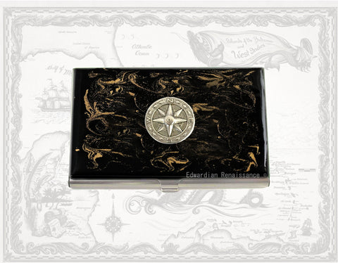 Compass Rose Medallion Business Card Case Inlaid in Hand Painted Enamel Nautical Inspired with Personalized and Color Options