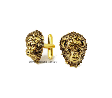 Buffalo Head Cufflinks Antique Gold Western Wildlife Inspired Bull with Tie Clip or Tie Pin Set Option