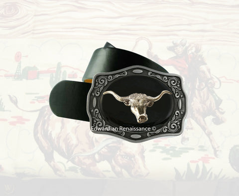 Longhorn Bull Belt Buckle Inlaid in Hand Painted Glossy Black Enamel Western Design Ornate Buckle with Color Options