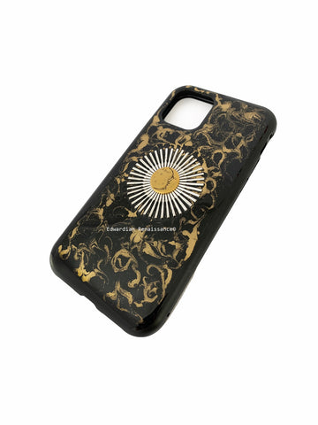 Moon and Sunburst Iphone or Galaxy Case Inlaid in Glossy Black Enamel with Gold Swirl art Nouveau Phone Cover with Color Options Available