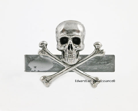 Skull and CrossbonesTie Clip Vintage Style Antique Sterling Silver Gothic Neck Tie Bar Accent Metallic Silver Enamel with Color Options