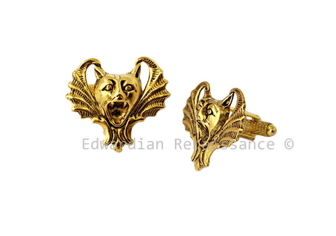 Vampire Bat Cufflinks plated in Antique Gold Gothic Victorian Vintage Inspired with Tie Pin and Tie Clip Set Options