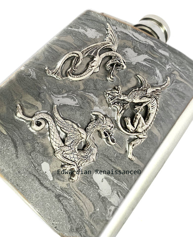 Battling Dragons Flask Inlaid in Hand Painted Silver Swirl Design Game of Thrones Inspired Personalize Engraving and Color Options