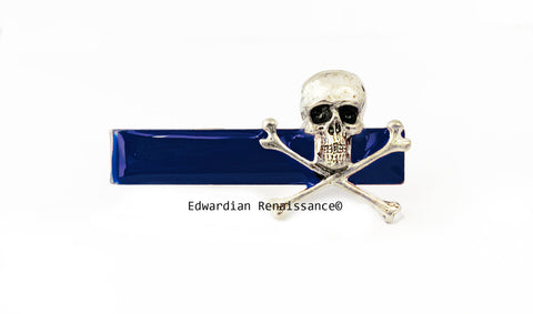 Skull and CrossbonesTie Clip inlaid in Hand Painted Navy Opaque Enamel Vintage Style Neck Tie Bar Accent  with Color Options