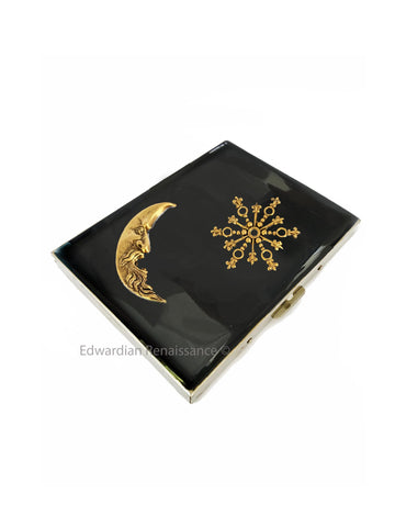 Celestial Cigarette Case Inlaid in Hand Painted Glossy Black Enamel Moon and Starburst Design Personalized and Color Options