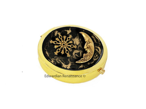Victorian Pill Box Inlaid in Hand Painted Black with Gold Swirl Enamel Celestial Design Case with a Mirror Personalize and Color Option
