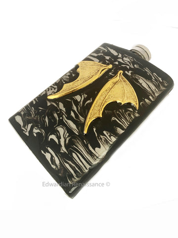 Dragon Wings Flask Inlaid in Hand Painted Black Ink Swirl Enamel Gothic Medieval 8oz Hip Flask Personalize and Color Options